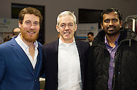 Repro FREE:   Richard McCurry, Newbie Chinese, Runner Up, Best New Idea Galway, IBYE 2016 with Declan Droney, Kinvara Smoked Salmon and Business advisor and Shankar Ganesh Jayagopi, Instillo Ltd. at the Portershed for the awards.<br /> Photo:Andrew Downes, xposure