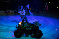 KELOWNA, CANADA - JANUARY 19:  Rocky Raccoon, the mascot of the Kelowna Rockets stands on the ice on his polaris quad against the Prince Albert Raiders on January 19, 2019 at Prospera Place in Kelowna, British Columbia, Canada.  (Photo by Marissa Baecker/Shoot the Breeze)