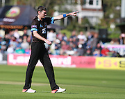 Sussex bowler Steve Magoffin during the NatWest T20 Blast South Group match between Sussex County Cricket Club and Gloucestershire County Cricket Club at the BrightonandHoveJobs.com County Ground, Hove, United Kingdom on 17 May 2015. Photo by Bennett Dean.