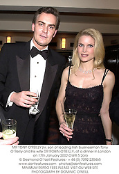 MR TONY O'REILLY jnr. son of leading Irish businessman Tony O'Reilly and his wife DR ROBIN O'REILLY, at a dinner in London on 17th January 2002.OWR 5 2oro