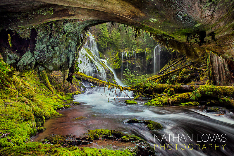 Waterfalls and green moss in the Columbia Gorge;  Oregon.