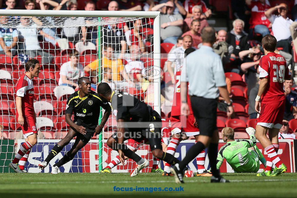 Picture by Paul Gaythorpe/Focus Images Ltd +447771 871632<br /> 31/08/2013<br /> Michail Antonio (L) of Sheffield Wednesday celebrates scoring the opening goal against Middlesbrough during the Sky Bet Championship match at the Riverside Stadium, Middlesbrough.