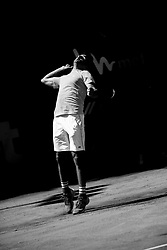 June 21, 2018 - L'Aquila, Italy - (EDITORS NOTE: Image has been converted to black and.white.) Benjamin Hassan during match between Benjamin Hassan (GER) and Gianluigi Quinzi (ITA) during day 6 at the Internazionali di Tennis Citt dell'Aquila (ATP Challenger L'Aquila) in L'Aquila, Italy, on June 20, 2018. (Credit Image: © Manuel Romano/NurPhoto via ZUMA Press)