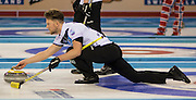 "Glasgow. SCOTLAND. Scotland's Ross PATERSON, guides his ""Stone' as he approaches the ""Hog Line"" at the Le Gruyère European Curling Championships. 2016 Venue, Braehead  Scotland<br /> Sunday  20/11/2016<br /> <br /> [Mandatory Credit; Peter Spurrier/Intersport-images]"