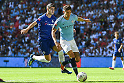 Manchester City Defender John Stones (5) and Chelsea Forward Alvaro Morata (29) battle for the ball during the FA Community Shield match between Chelsea and Manchester City at Wembley Stadium, London, England on 5 August 2018. Picture by Stephen Wright.