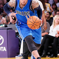 12 April 2014: Dallas Mavericks guard Monta Ellis (11) dribbles during the Dallas Mavericks 120-106 victory over the Los Angeles Lakers, at the Staples Center, Los Angeles, California, USA.