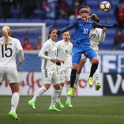 HARRISON, NEW JERSEY- MARCH 4:  Camille Abily #10 of France wins the ball while challenged by Lina Magull #20 of Germany during the France Vs Germany SheBelieves Cup International match at Red Bull Arena on March 4, 2017 in Harrison, New Jersey. (Photo by Tim Clayton/Corbis via Getty Images)