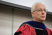 Dean Sherman gives closing remarks at the Ohio University College of Business Commencement Ceremony on April 9, 2016. (Photo by Emily Matthews)