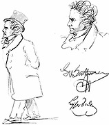 Ludwig van Beethoven (1770-1827) German composer, a bridge between Classical and Romantic styles. Contemporary sketches of Beethoven