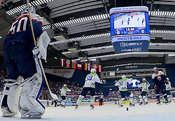 Anze Kopitar of Slovenia, Jan Mursak of Slovenia, Jan Urbas of Slovenia and Ales Kranjc of Slovenia celebrate after scoring first goal during Ice Hockey match between Slovakia and Slovenia at Day 5 in Group B of 2015 IIHF World Championship, on May 5, 2015 in CEZ Arena, Ostrava, Czech Republic. Photo by Vid Ponikvar / Sportida