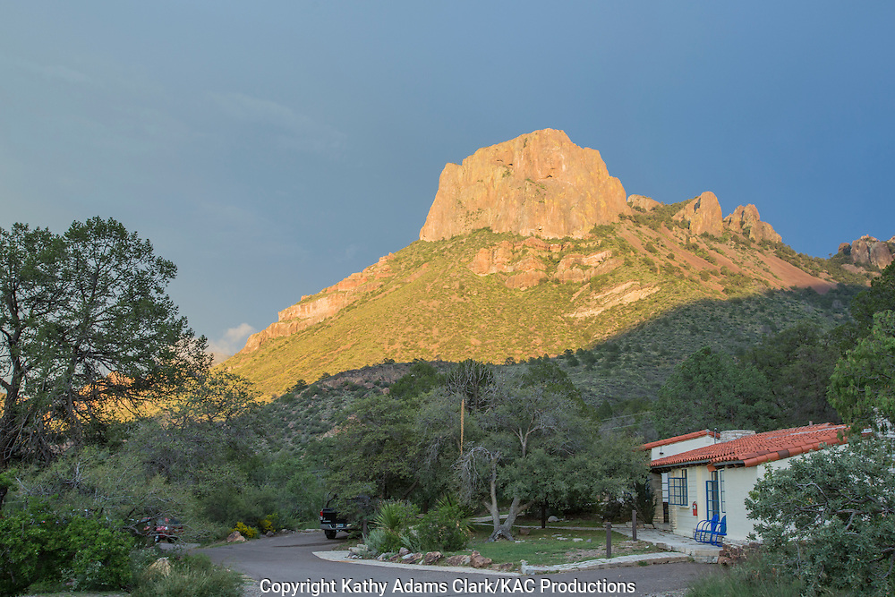 Light from setting sun hitting the Casa Grande Peak in the Chisos Mountains at Big Bend National Park, Texas. Vantage point is the Chisos Basin.