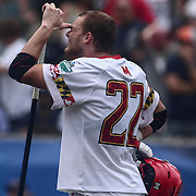 University of Maryland Defenseman GREG DANSEGLIO (22) is emotional after University of Maryland falls in overtime during The NCAA Division I NATIONAL CHAMPIONSHIP GAME to North Carolina 14-13, Monday, May. 30, 2016 at Lincoln Financial Field in Philadelphia, Pa.