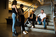Oscar De La Hoya visits with his son, Devon, daughter, Atiana, and her friend after the weigh-ins at AT&T Stadium in Arlington, Texas on September 16, 2016.  (Cooper Neill for ESPN)