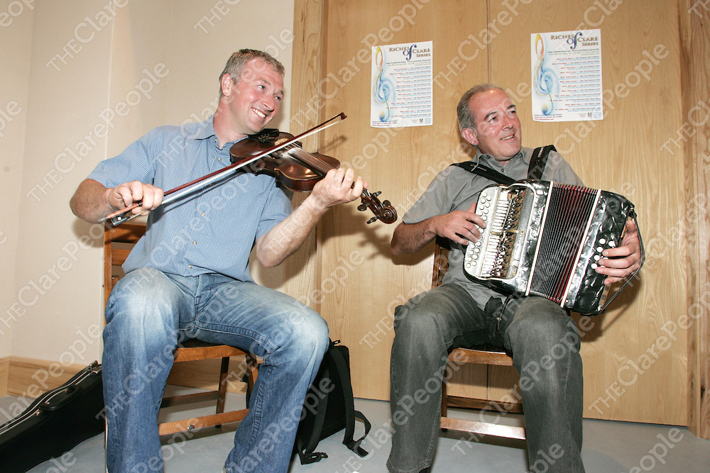 Riches of Clare final preformance in the Stables Artist Studios, Tulla on Friday 28th July. Pictured is Mark Donnellan Playing the fiddle & Andrew MacNamara playing the accordian. pic. Emma Jervis/ press 22