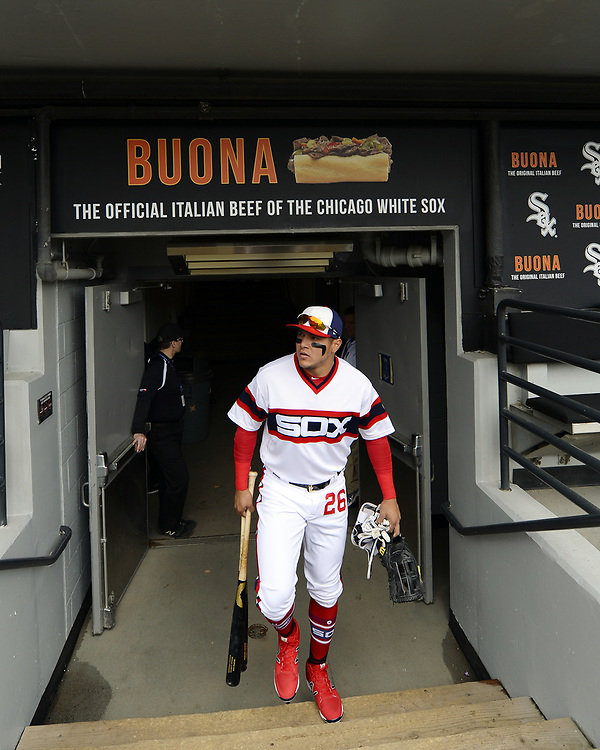 CHICAGO - APRIL 09:  Avisail Garcia #26 of the Chicago White Sox looks on from the dugout prior to the game against the Minnesota Twins on April 9, 2017 at Guaranteed Rate Field in Chicago, Illinois.  (Photo by Ron Vesely)   Subject:  Avisail Garcia
