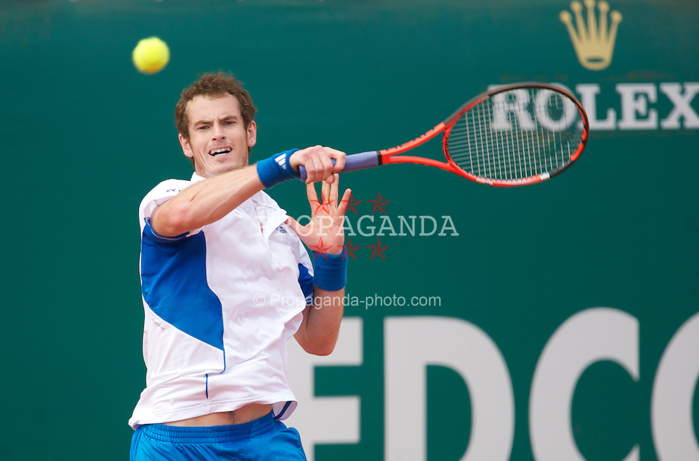 MONTE-CARLO, MONACO - Wednesday, April 14, 2010: Andy Murray (GBR) in action during his dismal 6-2, 6-1 defeat on day three of the ATP Masters Series Monte-Carlo at the Monte-Carlo Country Club. (Photo by David Rawcliffe/Propaganda)