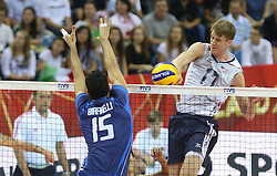 07.09.2014, Krakow Arena, Krakau, POL, FIVB WM, Italien vs USA, Gruppe D, im Bild EMANUELE BIRARELLI, MAXWELL HOLT // during the FIVB Volleyball Men's World Championships Pool D Match beween Italy and USA at the Krakow Arena in Krakau, Poland on 2014/09/07. <br /> <br /> ***NETHERLANDS ONLY***
