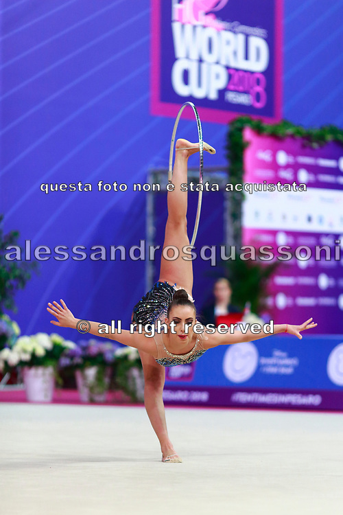 Katrin Taseva won the silver medal at hoop final in Pesaro World Cup in Adriatic Arena on April 15,2018.Katrin is a Bulgarian gymnast born in Samokov on November 24, 1997. She is a member of the Bulgarian National team since 2010.