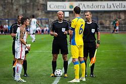 Referees and Kenan Horic of NK Domzale during football match between NK Domzale and FC Lusitanos Andorra in second leg of UEFA Europa league qualifications on July 7, 2016 in Andorra la Vella, Andorra. Photo by Ziga Zupan / Sportida