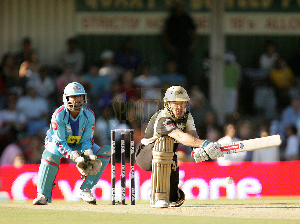 EAST LONDON, SOUTH AFRICA - 1 May 2009. Morne van Wyk sweeps during the  IPL Season 2 match between the Mumbai Indians and the Kolkata Knight Riders held at Buffalo Park in East London. South Africa..