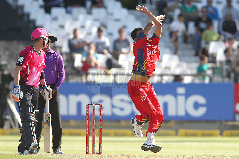 Sohail Tanveer of the Highveld Lions sends down a delivery during match 10 of the Karbonn Smart CLT20 South Africa between The Highveld Lions and The Sydney Sixers held at Newlands Stadium in Cape Town, South Africa on the 18th October 2012..Photo by Shaun Roy/SPORTZPICS/CLT20