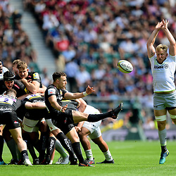 Nic White of Exeter Chiefs box kicks as Jackson Wray of Saracens attempts to charge down during the Aviva Premiership Final match between Exeter Chiefs and Saracens at Twickenham Stadium on May 26, 2018 in London, England. (Photo by Alex Davidson)