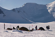 Breaking camp during a British mountaineering expedition to Knud Rasmussens Land, East Greenland, Arctic, 2006.