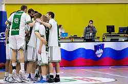 Players of Olimpija during basketball match between KK Union Olimpija Ljubljana and KK Krka Novo mesto of finals of 11th Slovenian Spar Cup 2012, on February 19, 2012 in Sports hall Brezice,  Brezice, Slovenia. (Photo By Vid Ponikvar / Sportida.com)