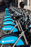 Bikes lined up in the Barclays cycle hire stand, Liverpool Street, London, United Kingdom. These bikes, often called Boris Bikes, after the mayor Boris Johnson are part of the Transport for London network.