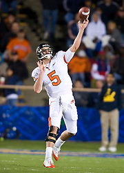 November 7, 2009; Berkeley, CA, USA;  Oregon State Beavers quarterback Sean Canfield (5) throws a deep pass during the fourth quarter at Memorial Stadium. Oregon State defeated California 31-14.