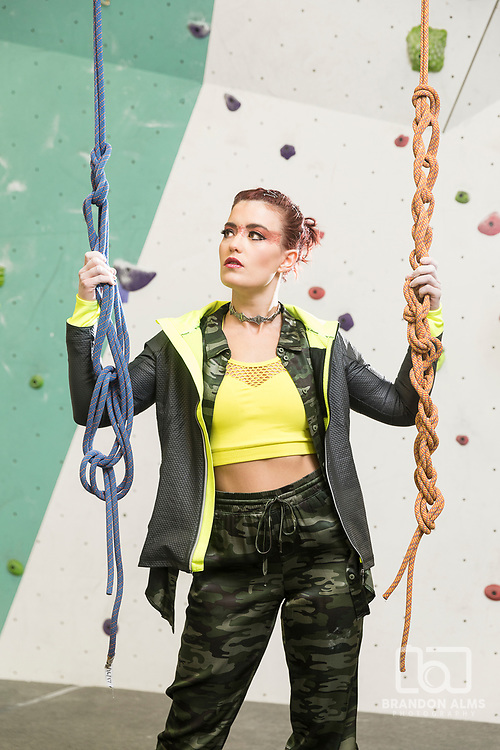 Fashion model at a rock climbing gym located in Springfield, MO.