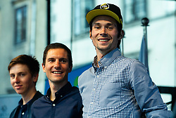 Tadej Pogacar, Jan Polanc and Primoz Roglic during reception of best Slovenian riders after Giro d'Italia 2019 and Tour of California 2019, on June 3rd, 2019, in Mestni trg, Ljubljana, Slovenia. Photo by Vid Ponikvar / Sportida