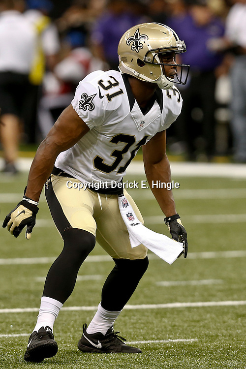 Aug 28, 2014; New Orleans, LA, USA; New Orleans Saints free safety Jairus Byrd (31) warms up before a preseason game against the Baltimore Ravens at Mercedes-Benz Superdome. The Ravens defeated the Saints 22-13. Mandatory Credit: Derick E. Hingle-USA TODAY Sports