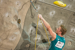 Jakob Schubert (AUT) overall winner during men final competition of IFSC Climbing World Cup Kranj 2014, on November 16, 2014 in Arena Zlato Polje, Kranj, Slovenia. (Photo By Grega Valancicr / Sportida.com)