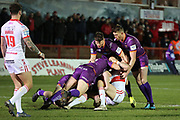 The Huddersfield Giants defence wrap a Rovers player up during the Betfred Super League match between Hull Kingston Rovers and Huddersfield Giants at the Hull College Craven Park  Stadium, Hull, United Kingdom on 21 February 2020.