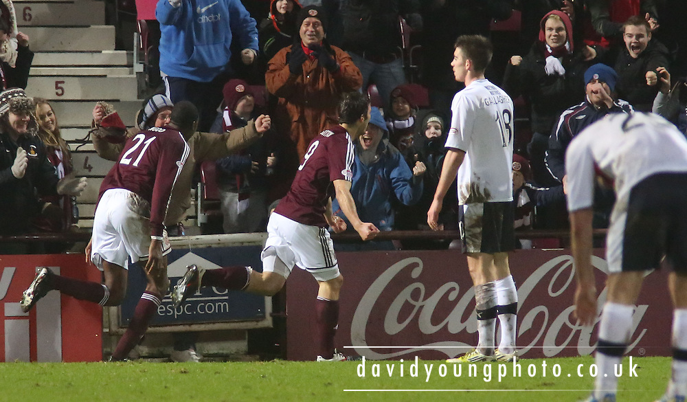 John Sutton (9) celebrates scoring Hearts' winner - Hearts v Dundee in the Clydesdale Bank, Scottish Premier League at Tynecastle.. - © David Young - www.davidyoungphoto.co.uk - email: davidyoungphoto@gmail.com