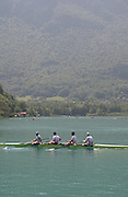 Aiguebelette, FRANCE. GBR M4- [2] wait to move on to the start for their Friday Morning Time Trial at the Friday Morning Time Trials at the 2014 FISA World Cup II, 12:04:40  Friday  20/06/2014. [Mandatory Credit; Peter Spurrier/Intersport-images]