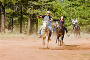 "09 SEPTEMBER 2007 -- ST. MICHAELS, AZ: Racers approach the finish line at a traditional Navajo Horse Race in the summit area of the Navajo Indian reservation about 10 miles west of St. Michaels, AZ. Traditional horse racing is making a comeback on the Navajo reservation. The races are run on improvised courses that vary depending on the local terrain. Use of saddles is optional (except in the ""Cowhand Race"" which requires a western style saddle) and many jockeys ride bareback. The distances vary from one mile to as long as thirty miles. Traditional horse races were common until the 1950's when they fell out of favor, but there has been a resurgence in traditional racing since the late 1990's and now there is a traditional horse racing circuit on the reservation. The race was organized by the Begay family of Steamboat, AZ and run on private land about three miles from a paved road.  Photo by Jack Kurtz"