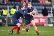 The French team warm up before the game during the Women's 6 Nations match between England Women and France Women at the Keepmoat Stadium, Doncaster, England on 10 February 2019.