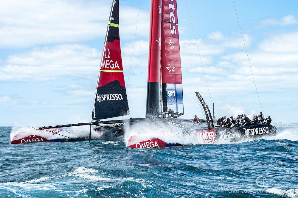 Emirates Team New Zealand training with their second AC72, NZL5 on the Hauraki Gulf, Auckland. 1/3/2013