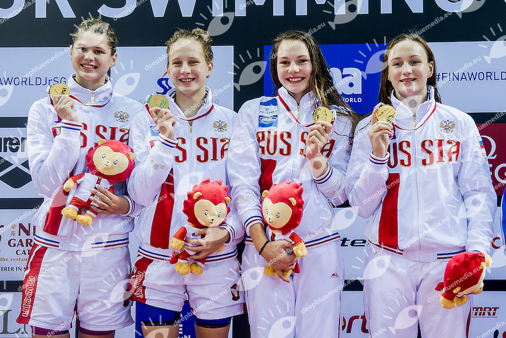 Russian Federation RUS<br /> 4X100 Medley Relay Women Final  Medal and New Junior World Record<br /> Day06 30/08/2015 - OCBC Aquatic Center<br /> V FINA World Junior Swimming Championships<br /> Singapore SIN  Aug. 25-30 2015 <br /> Photo A.Masini/Deepbluemedia/Insidefoto