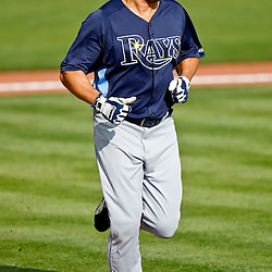 February 25, 2011; Port Charlotte, FL, USA; Tampa Bay Rays left fielder Johnny Damon (22) during a spring training split squad scrimmage at Charlotte Sports Park.  Mandatory Credit: Derick E. Hingle