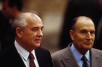 October  1990, France --- Mikhail Gorbachev, president of the USSR visits France on a state visit with Fran?ois Mitterrand.  Ch?teau Ramboullet, France. | Location: Ch?teau Ramboullet, France.  --- Image by © Owen Franken/CORBIS