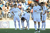 Real Madrid Castilla´s Martin Odegaard, Noblejas, Aguiza and Burgui during 2014-15 Spanish Second Division match between Real Madrid Castilla and Athletic Club B at Alfredo Di Stefano stadium in Madrid, Spain. February 08, 2015. (ALTERPHOTOS/Luis Fernandez)