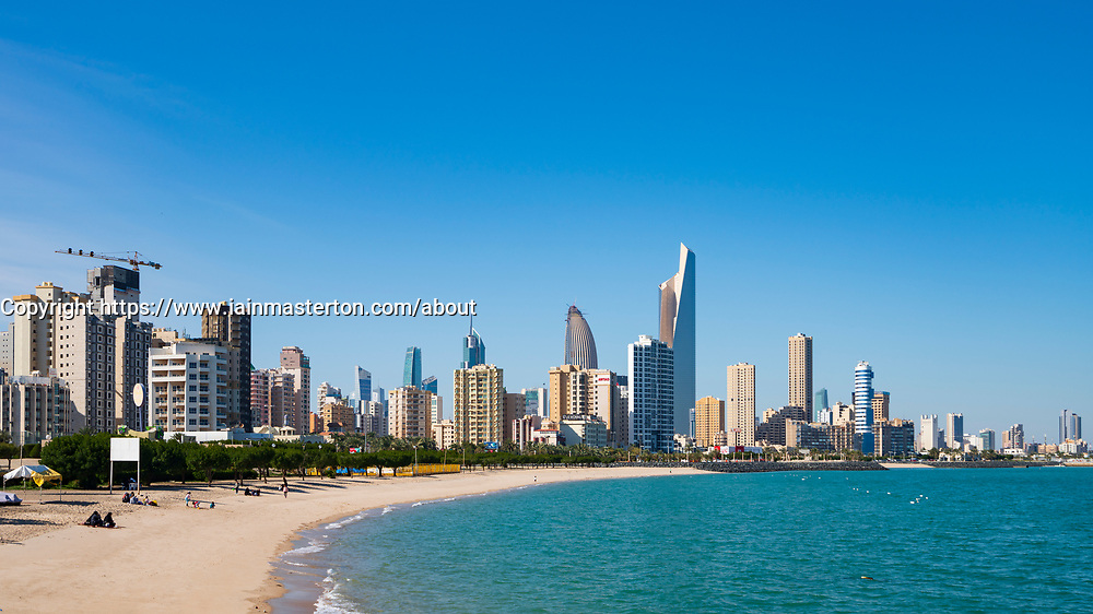 Daytime skyline of downtown Kuwait City in Kuwait, Middle East