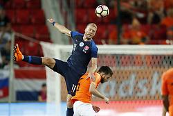 (L-R) Adam Nemec of Slovakia, Davy Propper of Holland during  the International friendly match between Slovakia and The Netherlands at Stadium Antona Malatinskeho on May 31, 2018 in Trnava, Slovakia