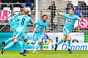 ALKMAAR - 11-12-2016, AZ -  Feyenoord, AFAS Stadion, Feyenoord speler Jan Arie van der Heijden (r) juicht nadat hij de 0-2 heeft gescoord, Feyenoord speler Tonny Vilhena