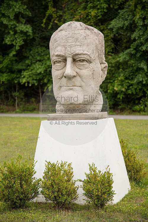 The statue bust of U.S. President Franklin Roosevelt in the gardens at the Roosevelt Warm Springs Institute for Rehabilitation in Warm Springs, Georgia.