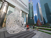Singapore. Raffles Place. Modern sculptures.