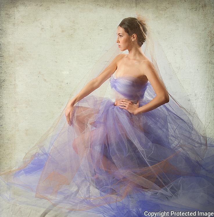 Woman in lilac organza